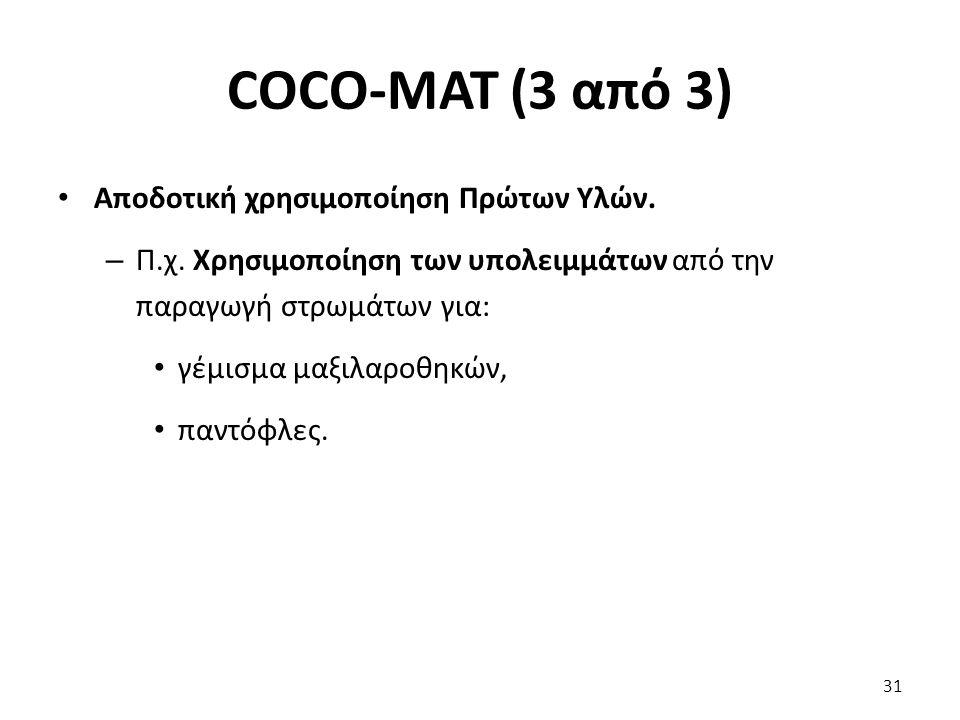 COCO-MAT (3 από 3) Αποδοτική χρησιμοποίηση Πρώτων Υλών.