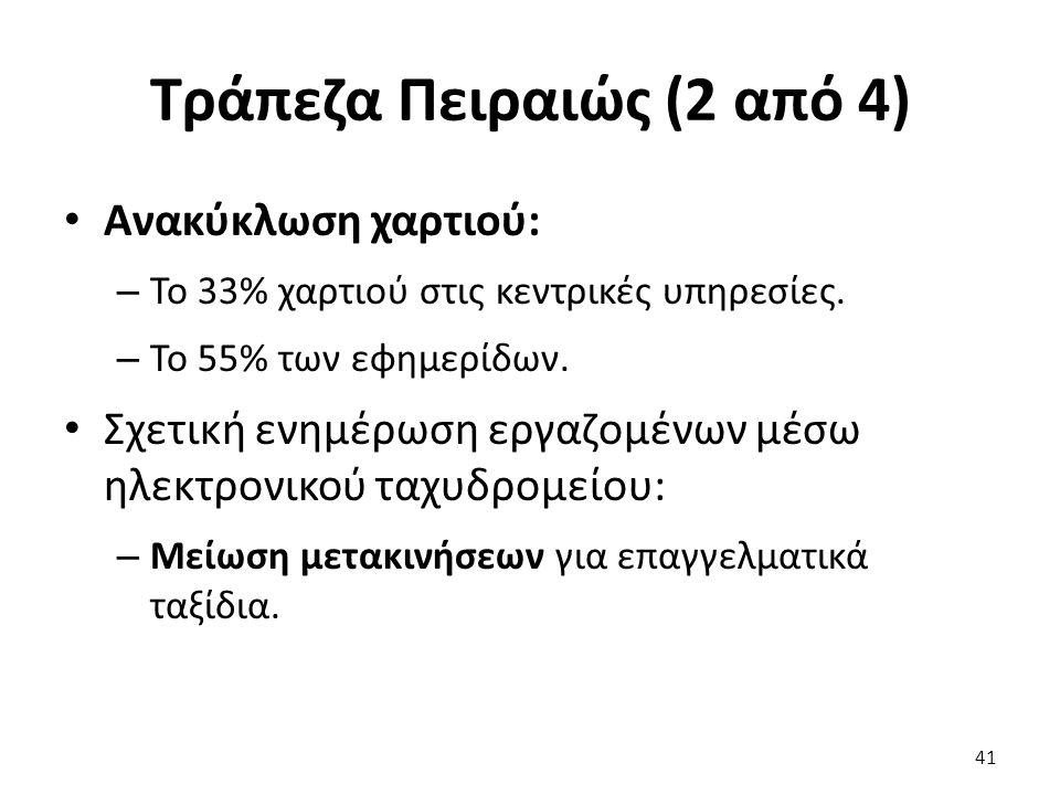 Τράπεζα Πειραιώς (2 από 4) Ανακύκλωση χαρτιού: – Το 33% χαρτιού στις κεντρικές υπηρεσίες.