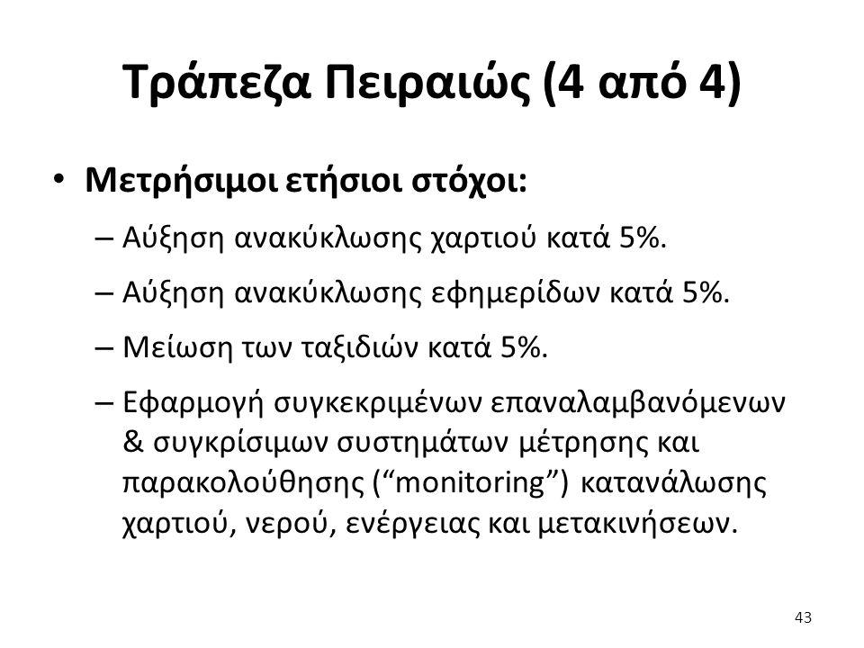 Τράπεζα Πειραιώς (4 από 4) Μετρήσιμοι ετήσιοι στόχοι: – Αύξηση ανακύκλωσης χαρτιού κατά 5%.