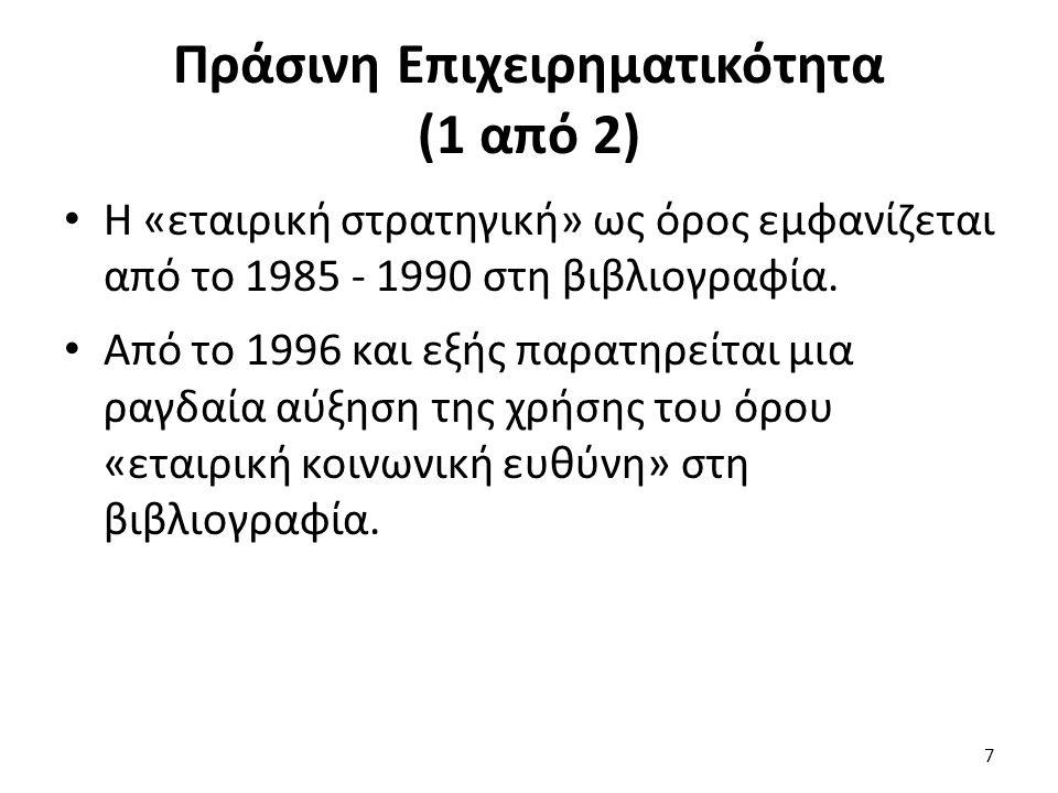 Πράσινη Επιχειρηματικότητα (1 από 2) Η «εταιρική στρατηγική» ως όρος εμφανίζεται από το 1985 - 1990 στη βιβλιογραφία.