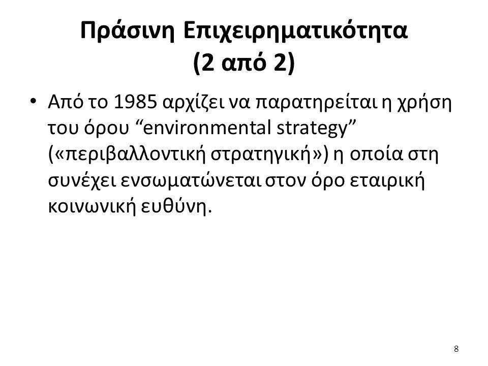 Πράσινη Επιχειρηματικότητα (2 από 2) Από το 1985 αρχίζει να παρατηρείται η χρήση του όρου environmental strategy («περιβαλλοντική στρατηγική») η οποία στη συνέχει ενσωματώνεται στον όρο εταιρική κοινωνική ευθύνη.