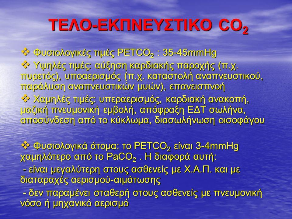 ΤΕΛΟ-ΕΚΠΝΕΥΣΤΙΚΟ CO 2  Φυσιολογικές τιμές PETCO 2 : 35-45mmHg  Υψηλές τιμές: αύξηση καρδιακής παροχής (π.χ.