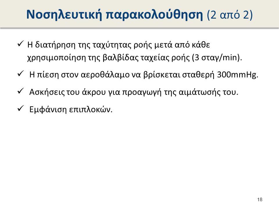 Νοσηλευτική παρακολούθηση (2 από 2) Η διατήρηση της ταχύτητας ροής μετά από κάθε χρησιμοποίηση της βαλβίδας ταχείας ροής (3 σταγ/min).