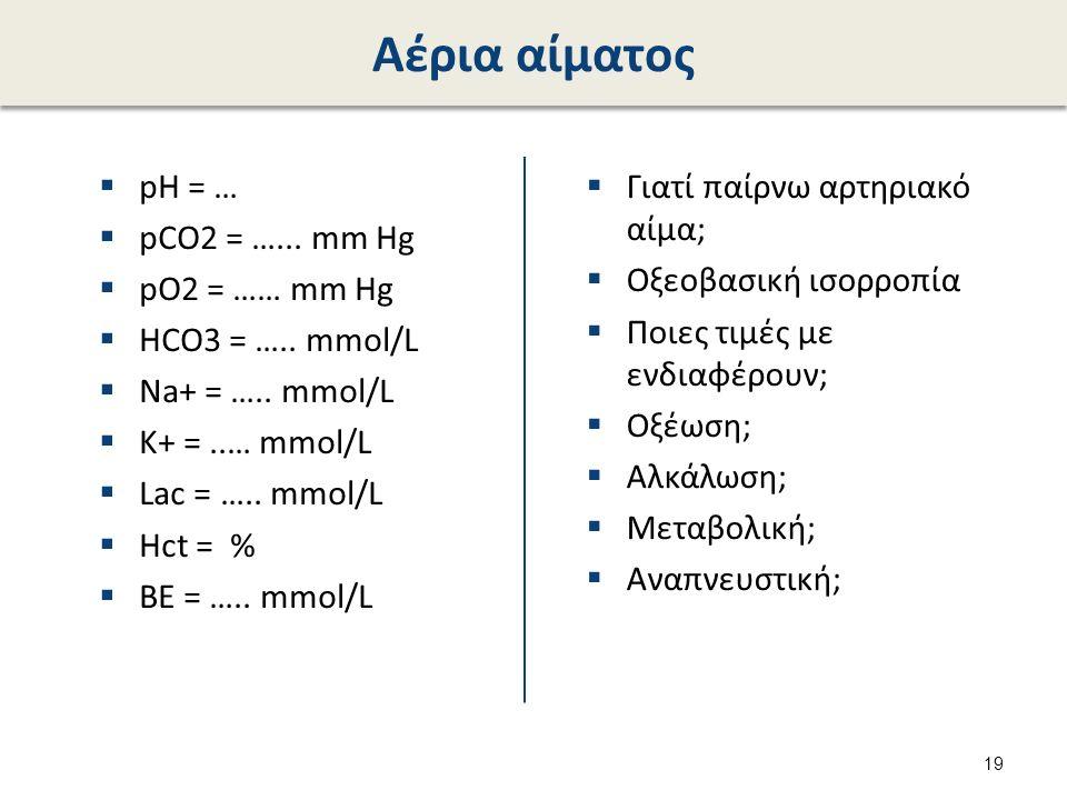 Αέρια αίματος  pH = …  pCO2 = …... mm Hg  pO2 = …… mm Hg  HCO3 = …..