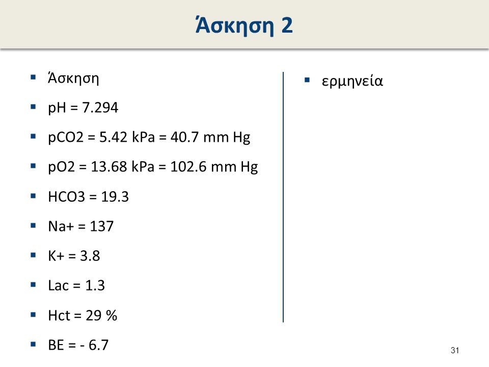 Άσκηση 2  Άσκηση  pH = 7.294  pCO2 = 5.42 kPa = 40.7 mm Hg  pO2 = 13.68 kPa = 102.6 mm Hg  HCO3 = 19.3  Na+ = 137  K+ = 3.8  Lac = 1.3  Hct = 29 %  BE = - 6.7  ερμηνεία 31