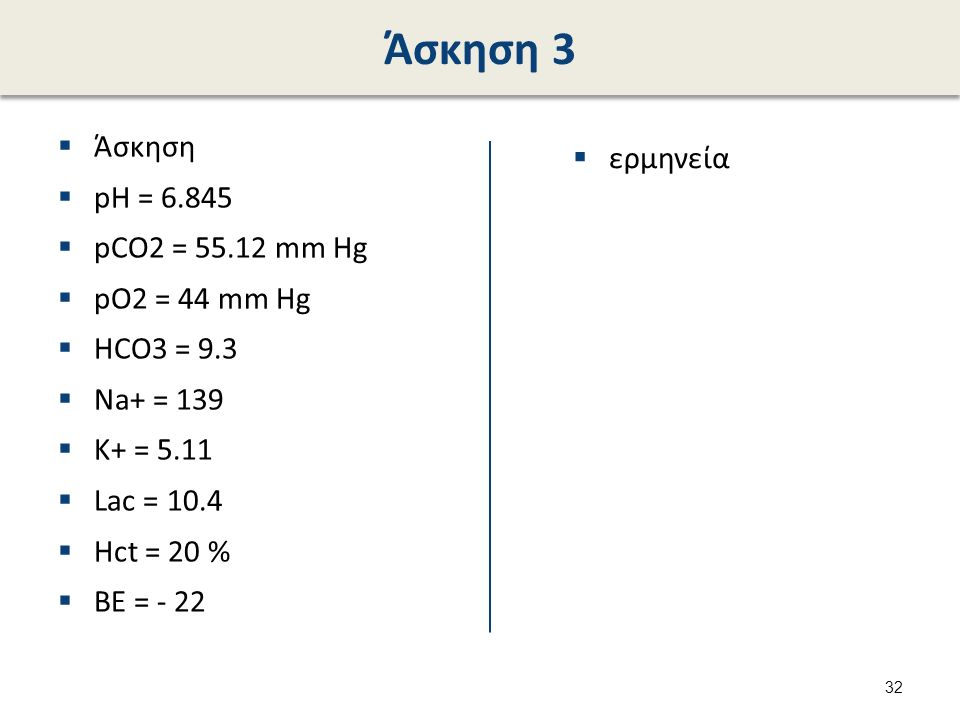 Άσκηση 3  Άσκηση  pH = 6.845  pCO2 = 55.12 mm Hg  pO2 = 44 mm Hg  HCO3 = 9.3  Na+ = 139  K+ = 5.11  Lac = 10.4  Hct = 20 %  BE = - 22  ερμη