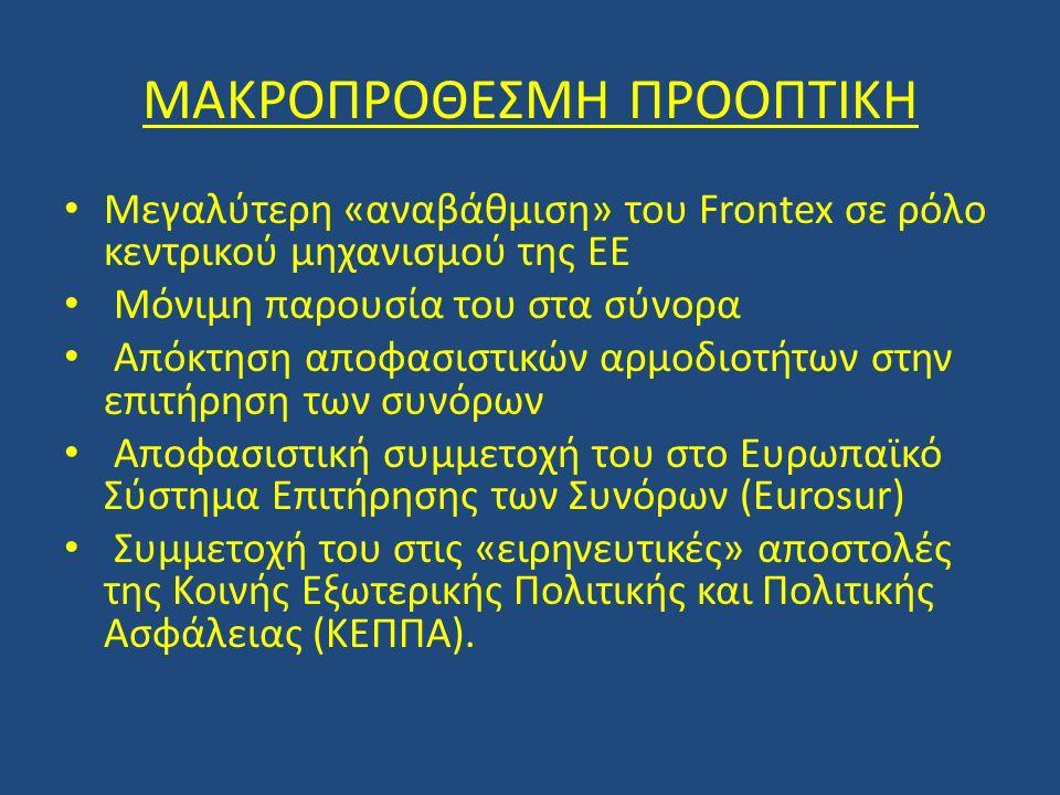ΜΑΚΡΟΠΡΟΘΕΣΜΗ ΠΡΟΟΠΤΙΚΗ Μεγαλύτερη «αναβάθμιση» του Frontex σε ρόλο κεντρικού μηχανισμού της ΕΕ Μόνιμη παρουσία του στα σύνορα Απόκτηση αποφασιστικών αρμοδιοτήτων στην επιτήρηση των συνόρων Αποφασιστική συμμετοχή του στο Ευρωπαϊκό Σύστημα Επιτήρησης των Συνόρων (Eurosur) Συμμετοχή του στις «ειρηνευτικές» αποστολές της Κοινής Εξωτερικής Πολιτικής και Πολιτικής Ασφάλειας (ΚΕΠΠΑ).