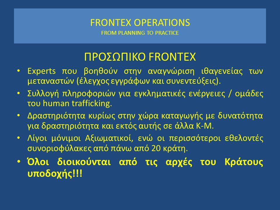 FRONTEX OPERATIONS FROM PLANNING TO PRACTICE ΠΡΟΣΩΠΙΚΟ FRONTEX Experts που βοηθούν στην αναγνώριση ιθαγενείας των μεταναστών (έλεγχος εγγράφων και συν