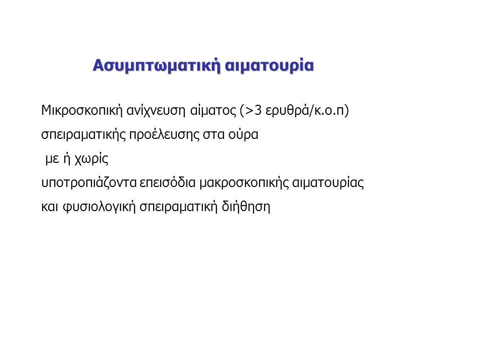 Ασυμπτωματική αιματουρία Ασυμπτωματική αιματουρία Μικροσκοπική ανίχνευση αίματος (>3 ερυθρά/κ.ο.π) σπειραματικής προέλευσης στα ούρα με ή χωρίς υποτροπιάζοντα επεισόδια μακροσκοπικής αιματουρίας και φυσιολογική σπειραματική διήθηση