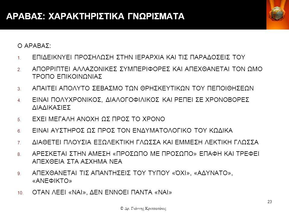 23 ΑΡΑΒΑΣ: ΧΑΡΑΚΤΗΡΙΣΤΙΚΑ ΓΝΩΡΙΣΜΑΤΑ Ο ΑΡΑΒΑΣ: 1. ΕΠΙΔΕΙΚΝΥΕΙ ΠΡΟΣΗΛΩΣΗ ΣΤΗΝ ΙΕΡΑΡΧΙΑ ΚΑΙ ΤΙΣ ΠΑΡΑΔΟΣΕΙΣ ΤΟΥ 2. ΑΠΟΡΡΙΠΤΕΙ ΑΛΛΑΖΟΝΙΚΕΣ ΣΥΜΠΕΡΙΦΟΡΕΣ ΚΑ