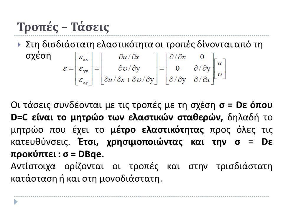 Τροπές – Τάσεις  Στη δισδιάστατη ελαστικότητα οι τροπές δίνονται από τη σχέση Οι τάσεις συνδέονται με τις τροπές με τη σχέση σ = D ε όπου D=C είναι το μητρώο των ελαστικών σταθερών, δηλαδή το μητρώο που έχει το μέτρο ελαστικότητας προς όλες τις κατευθύνσεις.