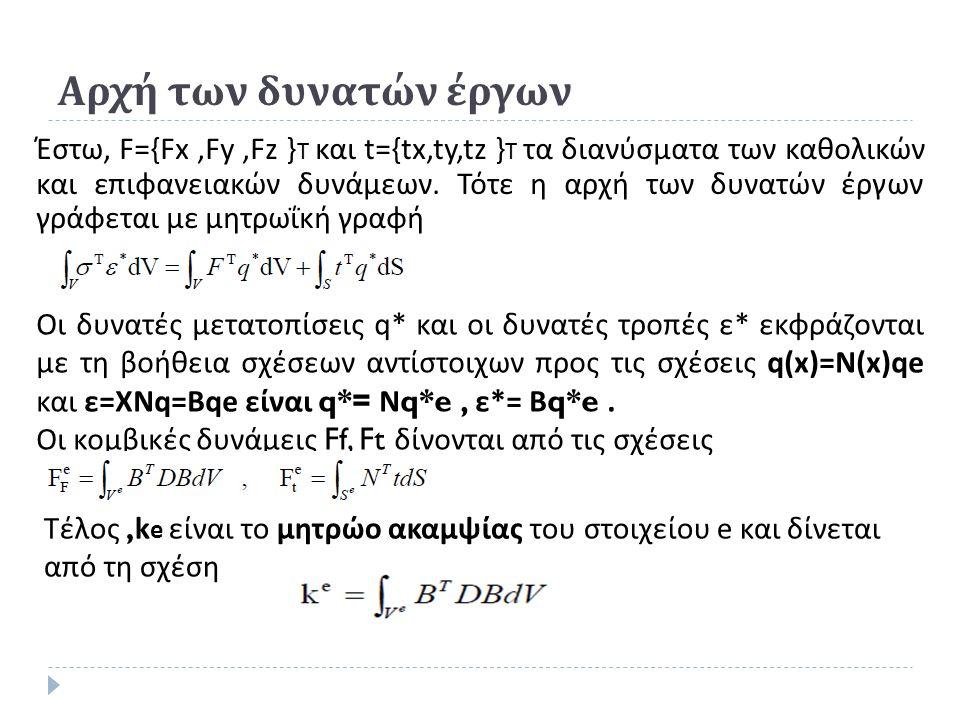 Αρχή των δυνατών έργων Έστω, F={Fx,Fy,Fz } T και t={tx,ty,tz } T τα διανύσματα των καθολικών και επιφανειακών δυνάμεων.