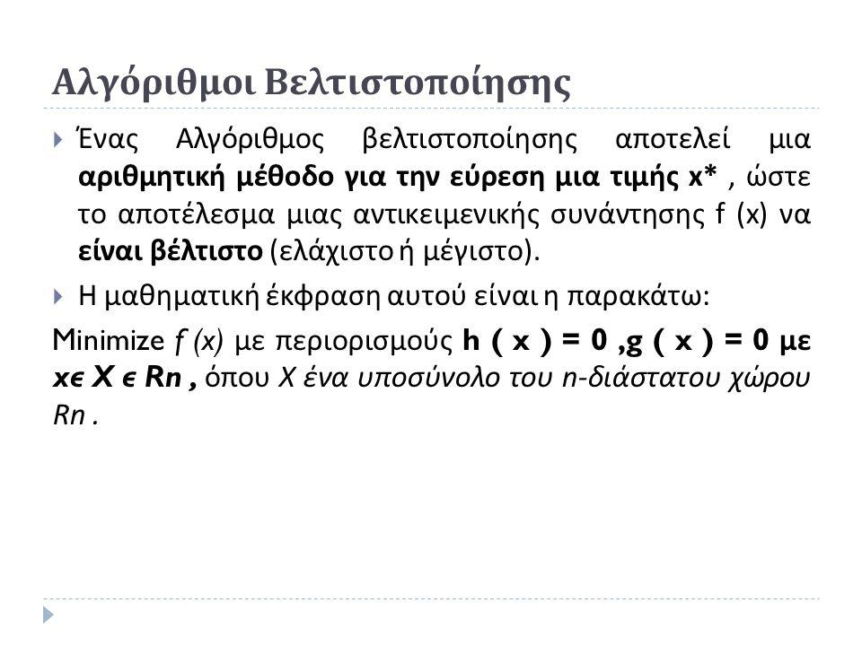 Αλγόριθμοι Βελτιστοποίησης  Ένας Αλγόριθμος βελτιστοποίησης αποτελεί μια αριθμητική μέθοδο για την εύρεση μια τιμής x*, ώστε το αποτέλεσμα μιας αντικειμενικής συνάντησης f (x) να είναι βέλτιστο ( ελάχιστο ή μέγιστο ).