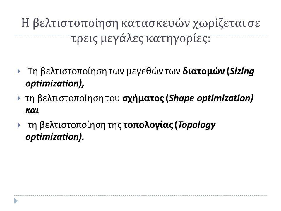 Η βελτιστοποίηση κατασκευών χωρίζεται σε τρεις μεγάλες κατηγορίες :  Τη βελτιστοποίηση των μεγεθών των διατομών (Sizing optimization),  τη βελτιστοποίηση του σχήματος (Shape optimization) και  τη βελτιστοποίηση της τοπολογίας (Topology optimization).