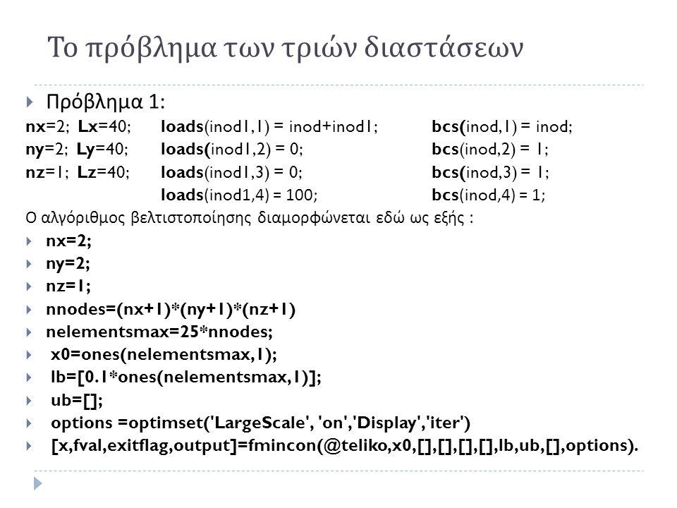 Το πρόβλημα των τριών διαστάσεων  Πρόβλημα 1: nx=2; Lx=40;loads(inod1,1) = inod+inod1;bcs(inod,1) = inod; ny=2; Ly=40;loads(inod1,2) = 0;bcs(inod,2) = 1; nz=1; Lz=40;loads(inod1,3) = 0;bcs(inod,3) = 1; loads(inod1,4) = 100; bcs(inod,4) = 1; Ο αλγόριθμος βελτιστοποίησης διαμορφώνεται εδώ ως εξής :  nx=2;  ny=2;  nz=1;  nnodes=(nx+1)*(ny+1)*(nz+1)  nelementsmax=25*nnodes;  x0=ones(nelementsmax,1);  lb=[0.1*ones(nelementsmax,1)];  ub=[];  options =optimset( LargeScale , on , Display , iter )  [x,fval,exitflag,output]=fmincon(@teliko,x0,[],[],[],[],lb,ub,[],options).