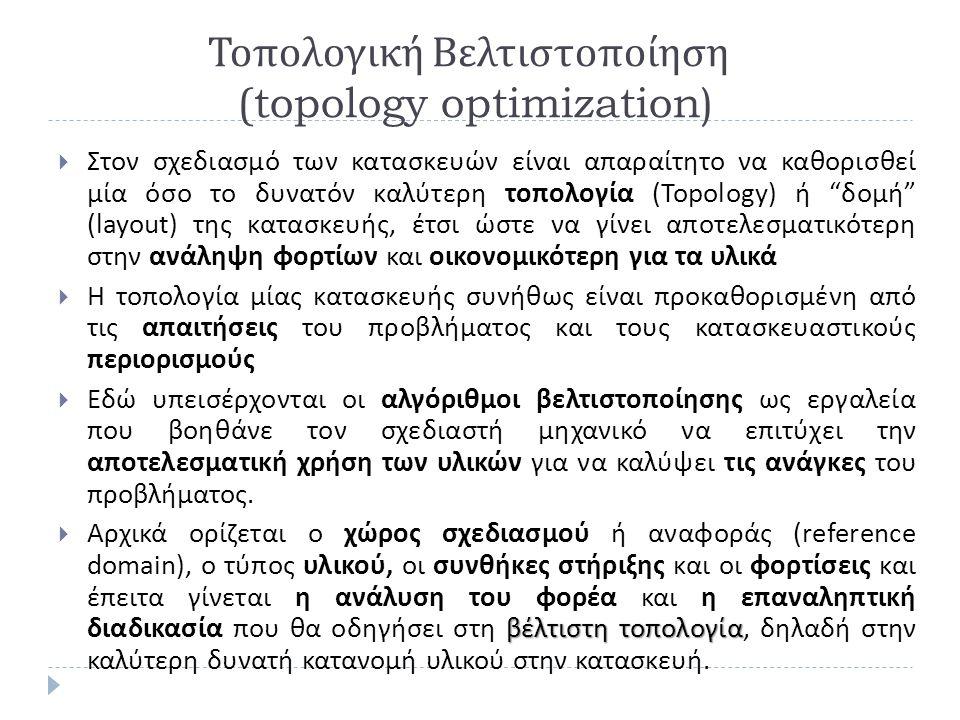 Τοπολογική Βελτιστοποίηση (topology optimization)  Στον σχεδιασμό των κατασκευών είναι απαραίτητο να καθορισθεί μία όσο το δυνατόν καλύτερη τοπολογία (Topology) ή δομή (layout) της κατασκευής, έτσι ώστε να γίνει αποτελεσματικότερη στην ανάληψη φορτίων και οικονομικότερη για τα υλικά  Η τοπολογία μίας κατασκευής συνήθως είναι προκαθορισμένη από τις απαιτήσεις του προβλήματος και τους κατασκευαστικούς περιορισμούς  Εδώ υπεισέρχονται οι αλγόριθμοι βελτιστοποίησης ως εργαλεία που βοηθάνε τον σχεδιαστή μηχανικό να επιτύχει την αποτελεσματική χρήση των υλικών για να καλύψει τις ανάγκες του προβλήματος.