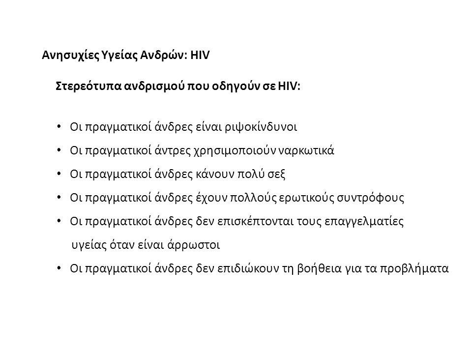Ανησυχίες Υγείας Ανδρών: HIV Στερεότυπα ανδρισμού που οδηγούν σε HIV: Οι πραγματικοί άνδρες είναι ριψοκίνδυνοι Οι πραγματικοί άντρες χρησιμοποιούν ναρκωτικά Οι πραγματικοί άνδρες κάνουν πολύ σεξ Οι πραγματικοί άνδρες έχουν πολλούς ερωτικούς συντρόφους Οι πραγματικοί άνδρες δεν επισκέπτονται τους επαγγελματίες υγείας όταν είναι άρρωστοι Οι πραγματικοί άνδρες δεν επιδιώκουν τη βοήθεια για τα προβλήματα