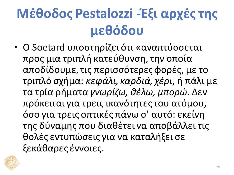 Μέθοδος Pestalozzi -Έξι αρχές της μεθόδου Ο Soetard υποστηρίζει ότι «αναπτύσσεται προς μια τριπλή κατεύθυνση, την οποία αποδίδουμε, τις περισσότερες φ