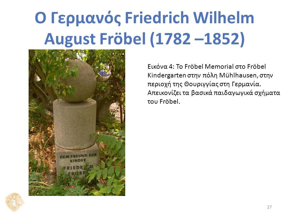 Ο Γερμανός Friedrich Wilhelm August Fröbel (1782 –1852) Εικόνα 4: Το Fröbel Memorial στο Fröbel Kindergarten στην πόλη Mühlhausen, στην περιοχή της Θο