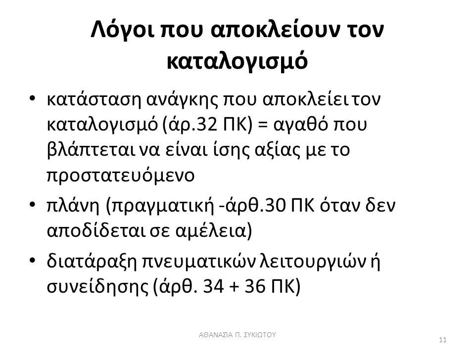 Λόγοι που αποκλείουν τον καταλογισμό κατάσταση ανάγκης που αποκλείει τον καταλογισμό (άρ.32 ΠΚ) = αγαθό που βλάπτεται να είναι ίσης αξίας με το προστατευόμενο πλάνη (πραγματική -άρθ.30 ΠΚ όταν δεν αποδίδεται σε αμέλεια) διατάραξη πνευματικών λειτουργιών ή συνείδησης (άρθ.