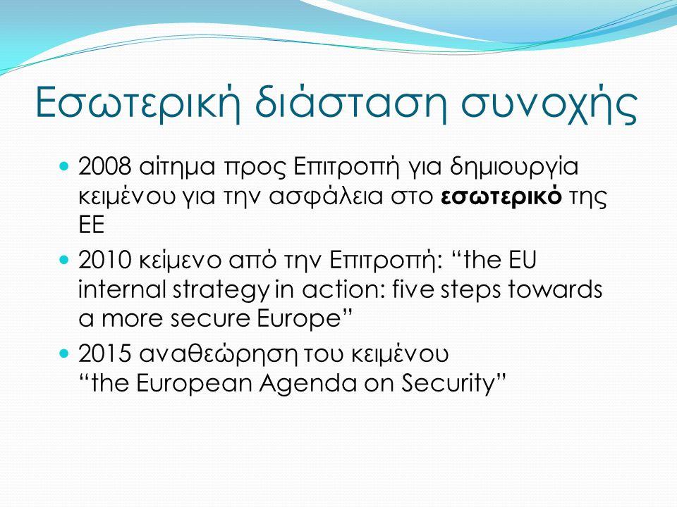 Εσωτερική διάσταση συνοχής 2008 αίτημα προς Επιτροπή για δημιουργία κειμένου για την ασφάλεια στο εσωτερικό της ΕΕ 2010 κείμενο από την Επιτροπή: the EU internal strategy in action: five steps towards a more secure Europe 2015 αναθεώρηση του κειμένου the European Agenda on Security