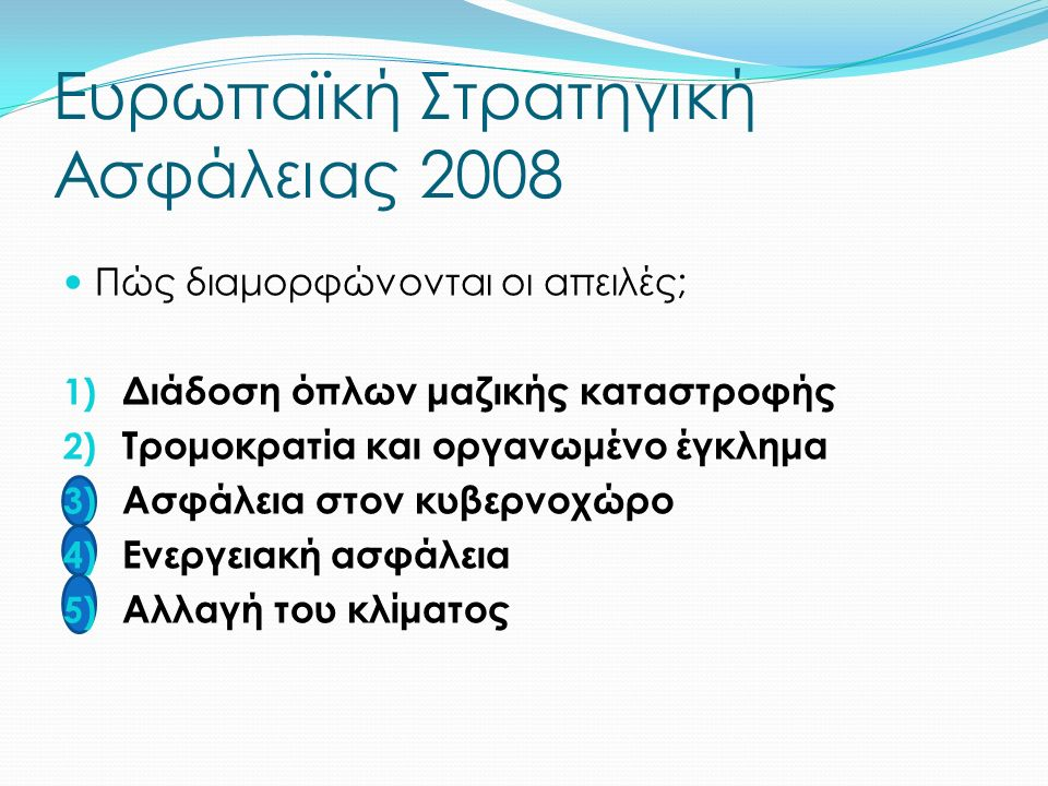 Ευρωπαϊκή Στρατηγική Ασφάλειας 2008 Πώς διαμορφώνονται οι απειλές; 1) Διάδοση όπλων μαζικής καταστροφής 2) Τρομοκρατία και οργανωμένο έγκλημα 3) Ασφάλεια στον κυβερνοχώρο 4) Ενεργειακή ασφάλεια 5) Αλλαγή του κλίματος