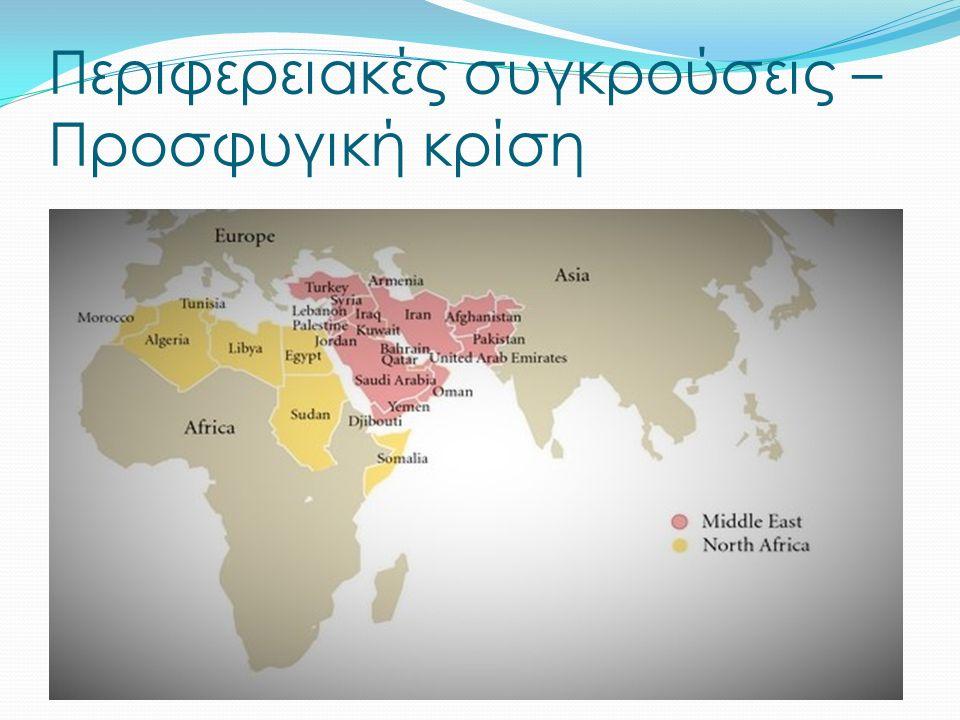 Συγκρούσεις στην περιοχή της Μέσης Ανατολής και της Β.Αφρικής (Συρία, Ισραήλ-Παλαιστίνη) Διακυβερνητικά προβλήματα που αφορούν την περιοχή της Υποσαχάριας Αφρικής ΠΡΟΣΦΥΓΙΚΗ ΚΡΙΣΗ