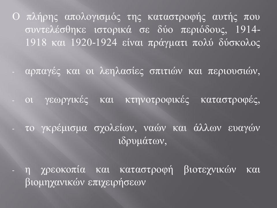 Ο πλήρης απολογισμός της καταστροφής αυτής που συντελέσθηκε ιστορικά σε δύο περιόδους, 1914- 1918 και 1920-1924 είναι πράγματι πολύ δύσκολος - αρπαγές