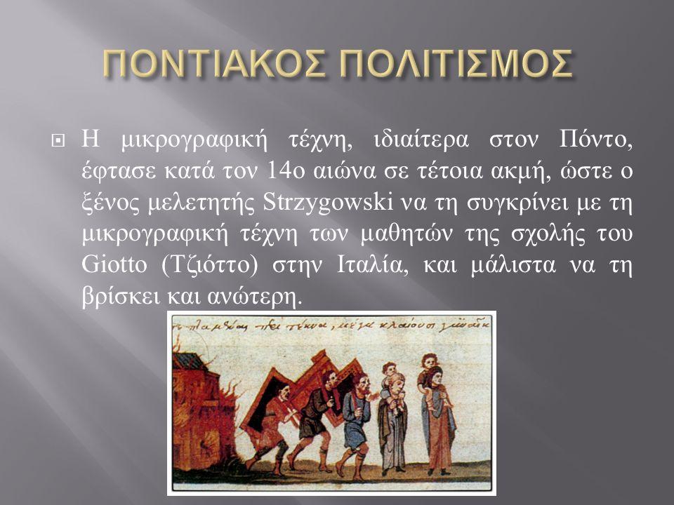  Η μικρογραφική τέχνη, ιδιαίτερα στον Πόντο, έφτασε κατά τον 14 ο αιώνα σε τέτοια ακμή, ώστε ο ξένος μελετητής Strzygowski να τη συγκρίνει με τη μικρ