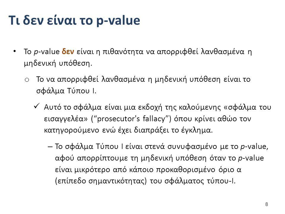 Το p-value δεν είναι η πιθανότητα να απορριφθεί λανθασμένα η μηδενική υπόθεση. o Το να απορριφθεί λανθασμένα η μηδενική υπόθεση είναι το σφάλμα Τύπου