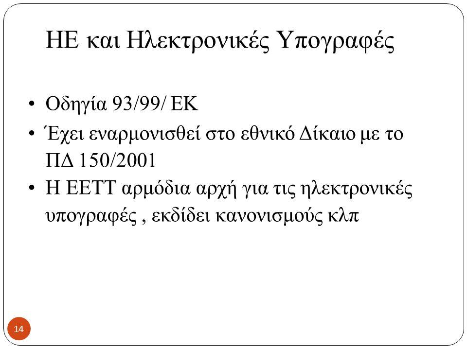 HE και Ηλεκτρονικές Υπογραφές Οδηγία 93/99/ ΕΚ Έχει εναρμονισθεί στο εθνικό Δίκαιο με το ΠΔ 150/2001 Η ΕΕΤΤ αρμόδια αρχή για τις ηλεκτρονικές υπογραφές, εκδίδει κανονισμούς κλπ 14