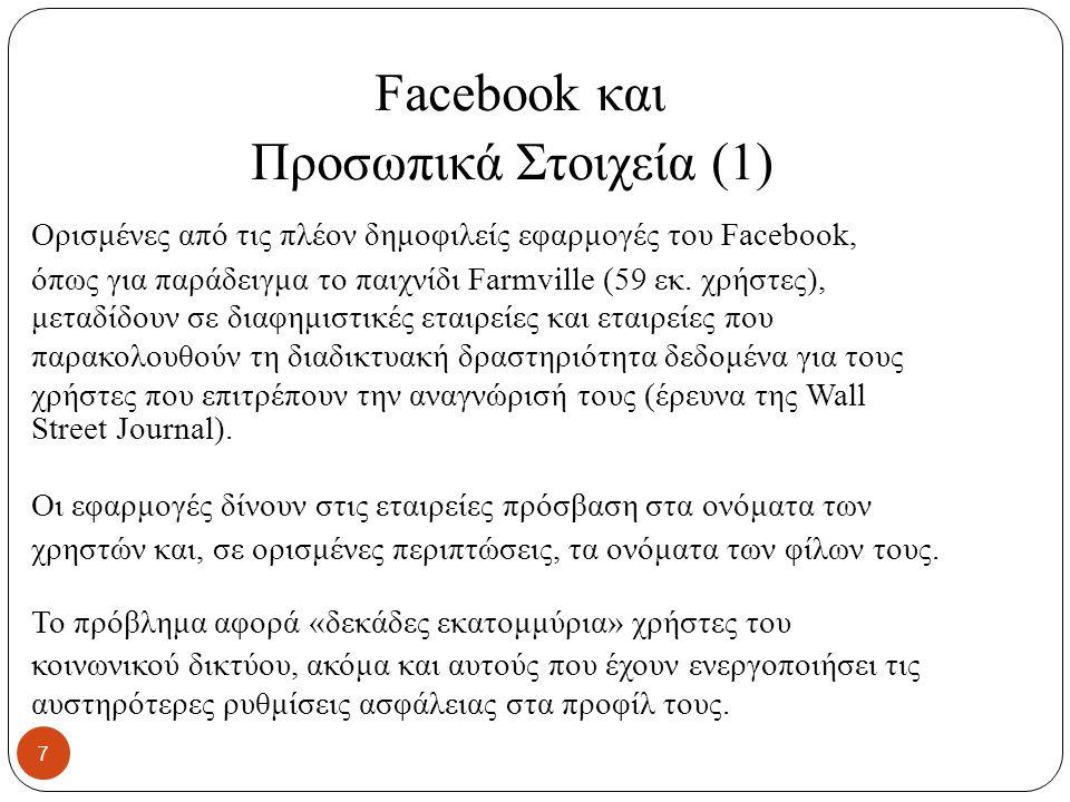 Facebook και Προσωπικά Στοιχεία (1) Ορισμένες από τις πλέον δημοφιλείς εφαρμογές του Facebook, όπως για παράδειγμα το παιχνίδι Farmville (59 εκ.