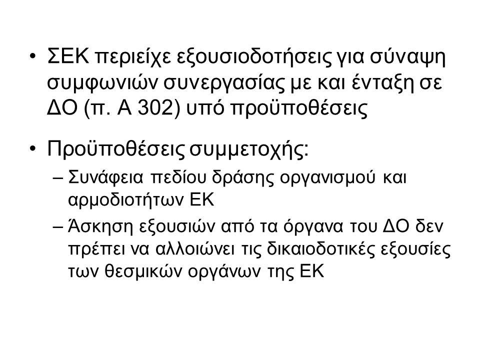 ΣΕΚ περιείχε εξουσιοδοτήσεις για σύναψη συμφωνιών συνεργασίας με και ένταξη σε ΔΟ (π.