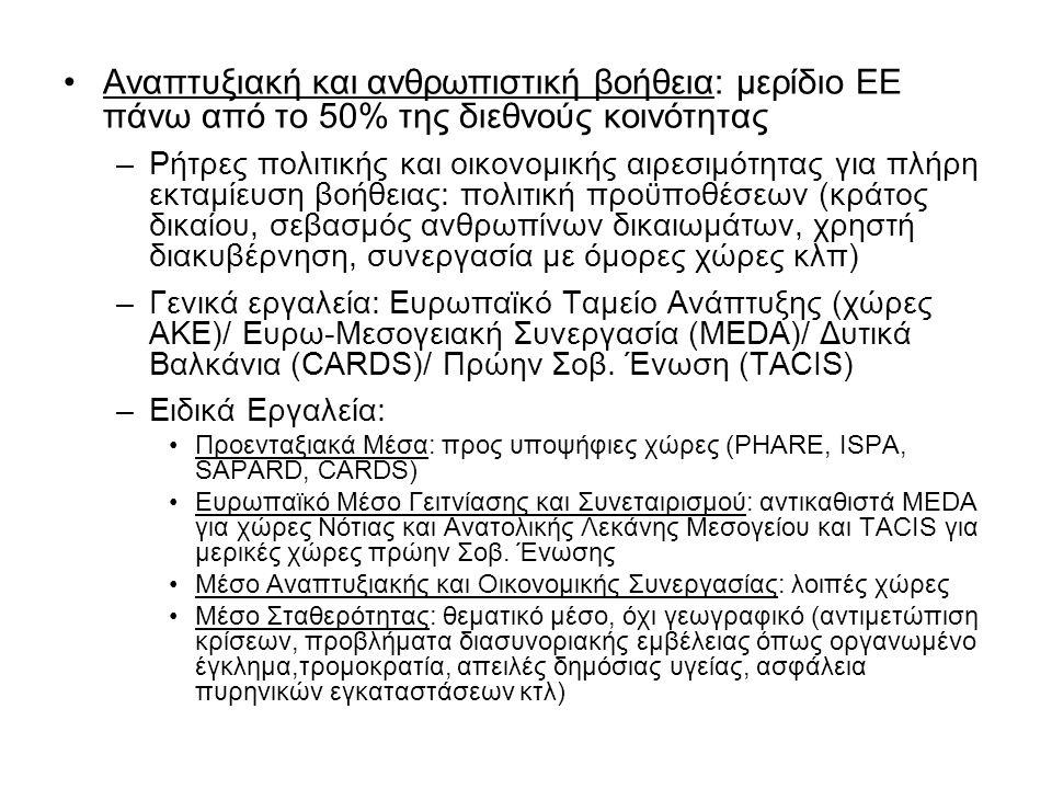 Στρατιωτικά και Πολιτικά Μέσα 1.Ευρωπαϊκή Δύναμη Ταχείας Αντίδρασης (ΕΔΤΑ) - 'Γενικός Στρατιωτικός Στόχος' - Ευρωπαϊκό Συμβούλιο Ελσίνκι (Δεκέμβριος 1999) ως το 2003, δύναμη ταχείας αντίδρασης, 50.000 με 60.000 έτοιμη εντός 60 ημερών για ανάπτυξη ενός τουλάχιστον έτους Έμφαση σε 'καθήκοντα Petersberg', όχι παραδοσιακή άμυνα –Ανθρωπιστικές αποστολές και αποστολές διάσωσης –Αποστολές διατήρησης της ειρήνης –Επέμβαση μάχιμων δυνάμεων στη διαχείριση κρίσεων –Αποκατάσταση ειρήνης Πρωτοβουλία εντός πλαισίου ΝΑΤΟ, η Δύναμη θα ενεργεί αυτόνομα μόνο όταν το ΝΑΤΟ δεν αναλαμβάνει δράση [έχουν προηγηθεί διαπραγματεύσεις εντός ΝΑΤΟ, Συμφωνία Βερολίνου (1996) για διαμόρφωση ευρωπαϊκού πυλώνα εντός ΝΑΤΟ και τρόπο χρήσης ΝΑΤΟικών πόρων και δομών, δεύτερη 'Συμφωνία Berlin +' (2003)] Διακυβερνητική μορφή συνεργασίας (και λήψης αποφάσεων) Όχι 'Ευρωστρατός' (κάθε χώρα ελέγχει τα στρατεύματά της) (Ε.