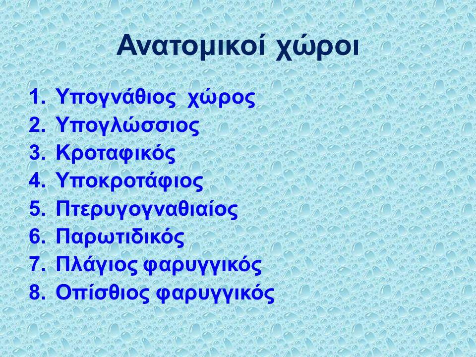 Ανατομικοί χώροι 1.Υπογνάθιος χώρος 2.Υπογλώσσιος 3.Κροταφικός 4.Υποκροτάφιος 5.Πτερυγογναθιαίος 6.Παρωτιδικός 7.Πλάγιος φαρυγγικός 8.Οπίσθιος φαρυγγικός