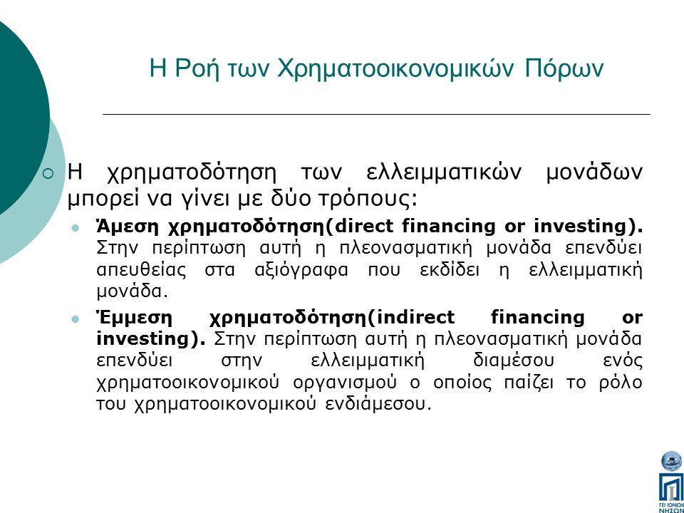 Η Ροή των Χρηματοοικονομικών Πόρων  Η χρηματοδότηση των ελλειμματικών μονάδων μπορεί να γίνει με δύο τρόπους: Άμεση χρηματοδότηση(direct financing or investing).