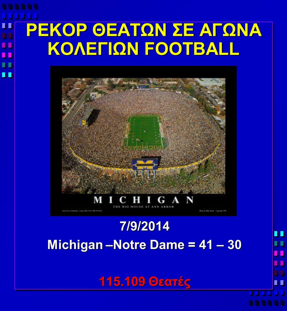ΡΕΚΟΡ ΘΕΑΤΩΝ ΣΕ ΑΓΩΝΑ ΚΟΛΕΓΙΩΝ FOOTBALL 7/9/2014 Michigan –Notre Dame = 41 – 30 115.109 Θεατές