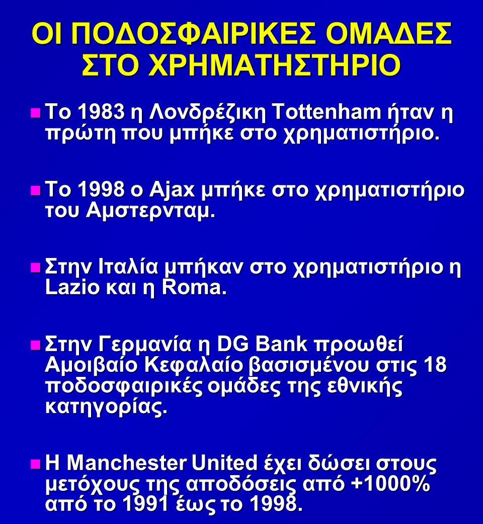 ΟΙ ΠΟΔΟΣΦΑΙΡΙΚΕΣ ΟΜΑΔΕΣ ΣΤΟ ΧΡΗΜΑΤΗΣΤΗΡΙΟ n Το 1983 η Λονδρέζικη Tottenham ήταν η πρώτη που μπήκε στο χρηματιστήριο.