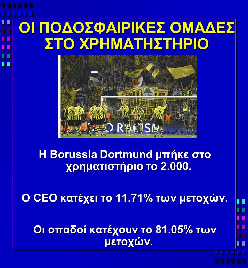 ΟΙ ΠΟΔΟΣΦΑΙΡΙΚΕΣ ΟΜΑΔΕΣ ΣΤΟ ΧΡΗΜΑΤΗΣΤΗΡΙΟ H Borussia Dortmund μπήκε στο χρηματιστήριο το 2.000.