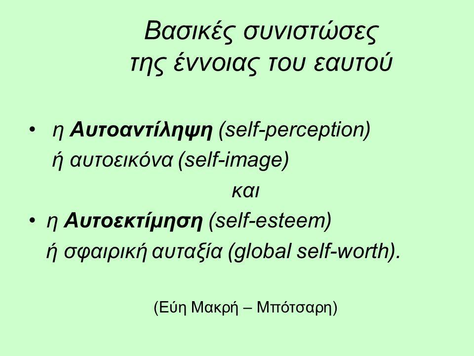 Βασικές συνιστώσες της έννοιας του εαυτού η Αυτοαντίληψη (self-perception) ή αυτοεικόνα (self-image) και η Αυτοεκτίμηση (self-esteem) ή σφαιρική αυταξία (global self-worth).