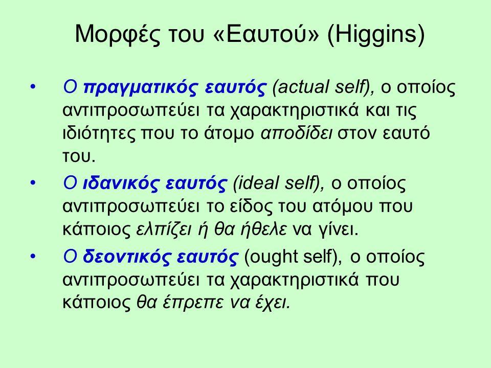 Μορφές του «Εαυτού» (Higgins) Ο πραγματικός εαυτός (actual self), o οποίος αντιπροσωπεύει τα χαρακτηριστικά και τις ιδιότητες που το άτομο αποδίδει στον εαυτό του.
