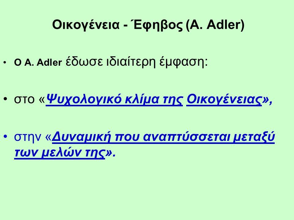Οικογένεια - Έφηβος (A. Adler) Ο A.