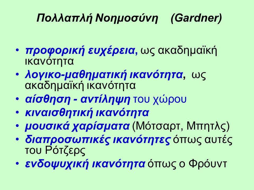 Πολλαπλή Νοημοσύνη (Gardner) προφορική ευχέρεια, ως ακαδημαϊκή ικανότητα λογικο-μαθηματική ικανότητα, ως ακαδημαϊκή ικανότητα αίσθηση - αντίληψη του χώρου κιναισθητική ικανότητα μουσικά χαρίσματα (Μότσαρτ, Μπητλς) διαπροσωπικές ικανότητες όπως αυτές του Ρότζερς ενδοψυχική ικανότητα όπως ο Φρόυντ