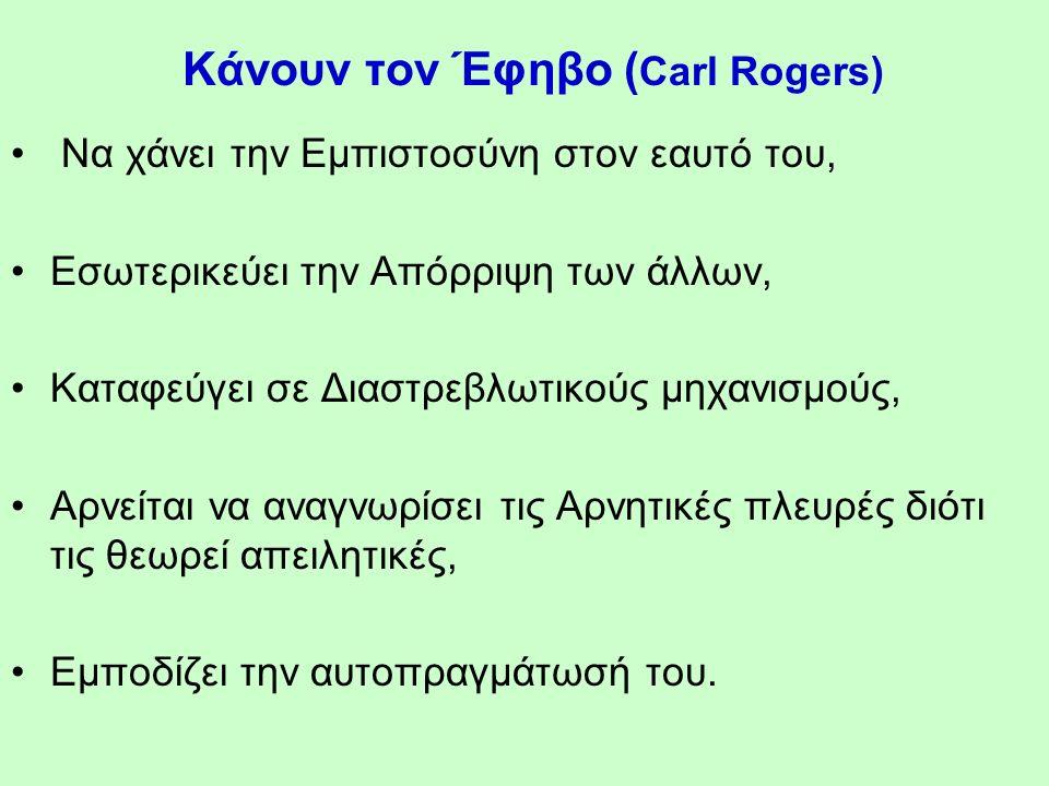 Κάνουν τον Έφηβο ( Carl Rogers) Να χάνει την Εμπιστοσύνη στον εαυτό του, Εσωτερικεύει την Απόρριψη των άλλων, Καταφεύγει σε Διαστρεβλωτικούς μηχανισμούς, Αρνείται να αναγνωρίσει τις Αρνητικές πλευρές διότι τις θεωρεί απειλητικές, Εμποδίζει την αυτοπραγμάτωσή του.