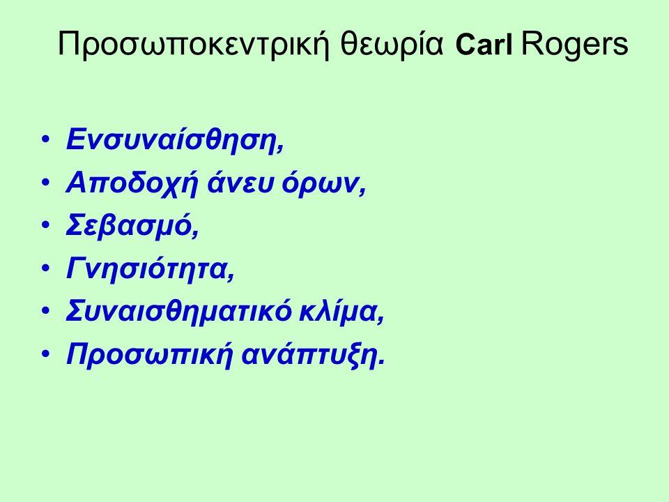 Προσωποκεντρική θεωρία Carl Rogers Ενσυναίσθηση, Αποδοχή άνευ όρων, Σεβασμό, Γνησιότητα, Συναισθηματικό κλίμα, Προσωπική ανάπτυξη.