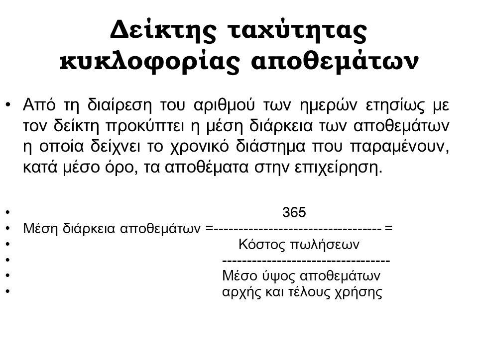 Δείκτης ταχύτητας κυκλοφορίας αποθεμάτων Κόστος πωλήσεων Δ κτ ταχύτητας κυκ λ αποθ = ------------------------------- Μέσο ύψος αποθεμάτων αρχής και τέλους χρήσης Στη σύγκριση των δεικτών ομοειδών επιχειρήσεων χρειάζεται προσοχή, διότι είναι δυνατό οι επιχειρήσεις να εφαρμόζουν διαφορετικές μορφές αποτίμησης των αποθεμάτων.