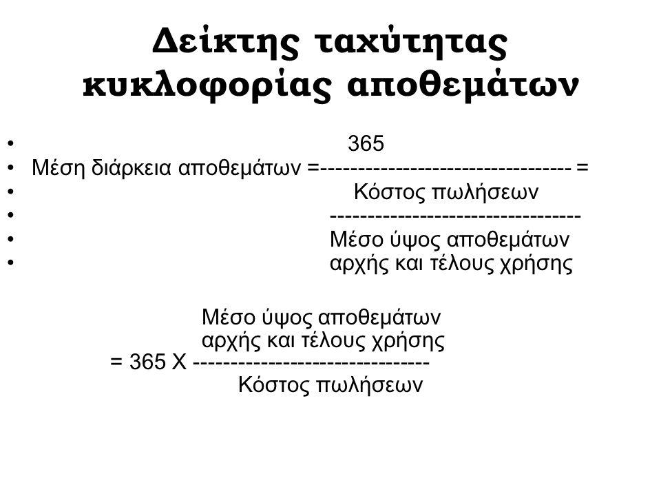 Δείκτης ταχύτητας κυκλοφορίας αποθεμάτων 365 Μέση διάρκεια αποθεμάτων =---------------------------------- = Κόστος πωλήσεων ---------------------------------- Μέσο ύψος αποθεμάτων αρχής και τέλους χρήσης Μέσο ύψος αποθεμάτων αρχής και τέλους χρήσης = 365 Χ -------------------------------- Κόστος πωλήσεων