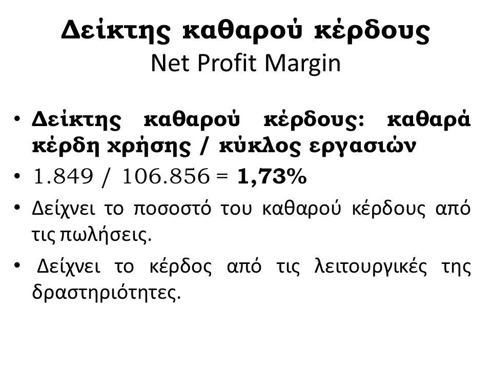 Μικτό κέρδος Δμκ = 100 Χ ----------------- Καθαρές πωλήσεις =100χ(175/560)=31 % ΩΜΕΓΑ