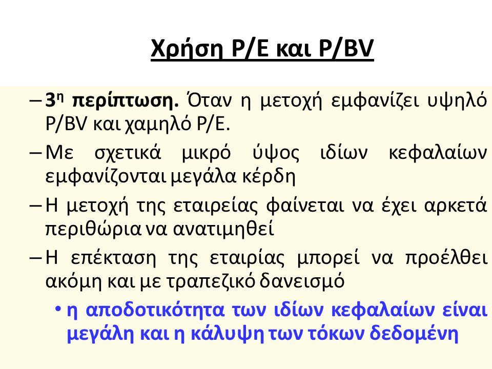 Χρήση P/E και P/BV – 2 η περίπτωση.