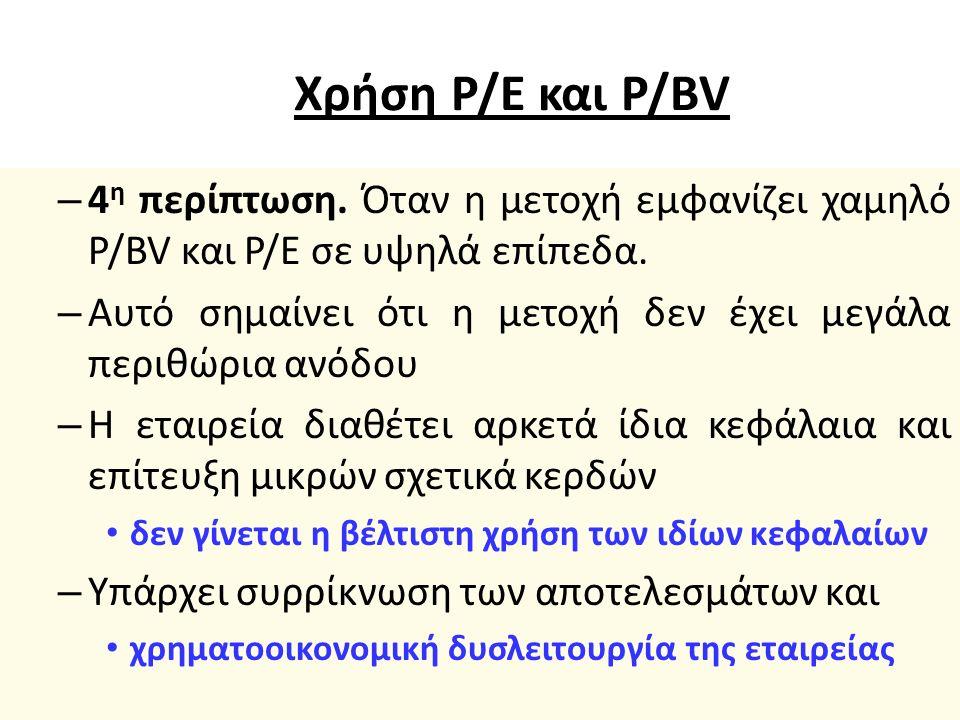 Χρήση P/E και P/BV – 3 η περίπτωση.Όταν η μετοχή εμφανίζει υψηλό P/BV και χαμηλό Ρ/Ε.